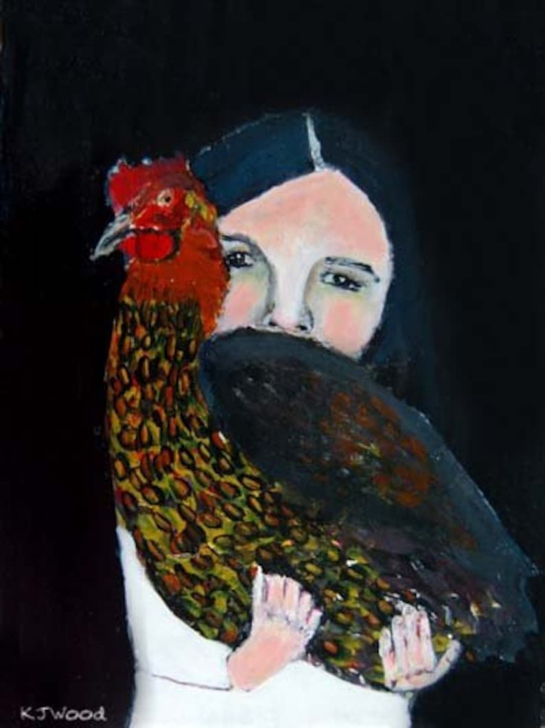 Little Girl & Her Chicken  Animal Painting Wall Art Print image 0