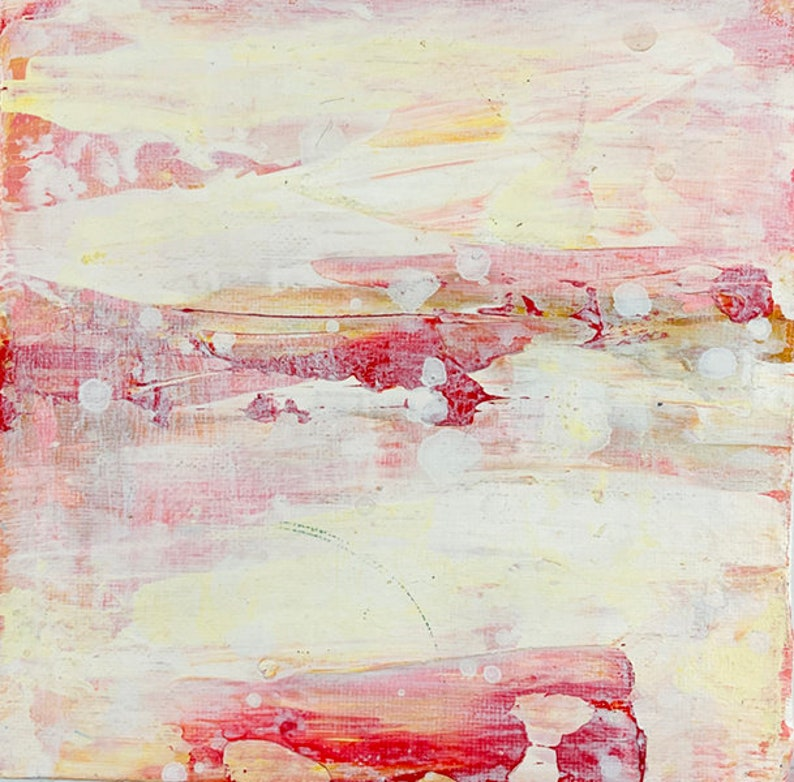 Clearance sale  6x6 Pale Yellow & Pink Abstract Oil Painting image 0