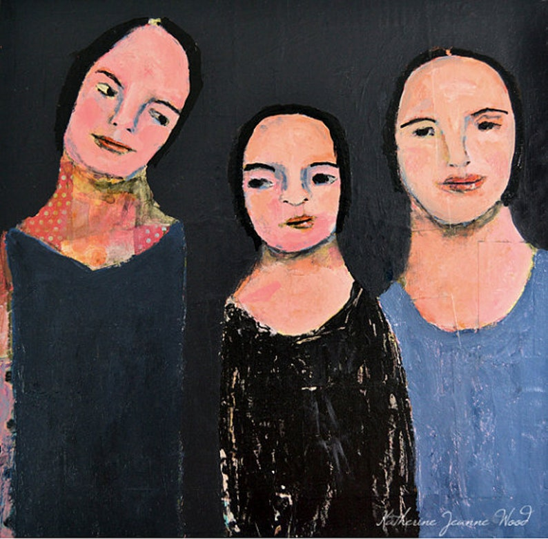 Clearance Sale  Three Sisters Portrait Painting Gift image 0
