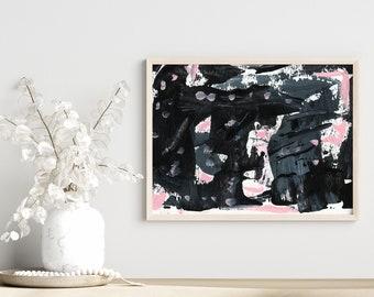 Sophisticated Sleek Black Pink Gray Abstract Painting, Unframed Bedroom Print