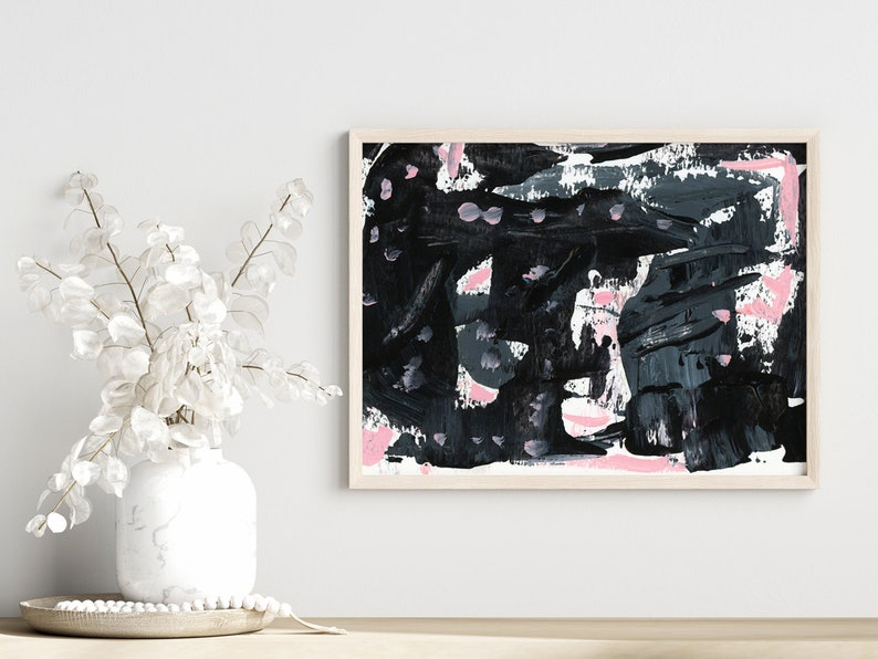 Sophisticated Sleek Black Pink Gray Abstract Painting image 0