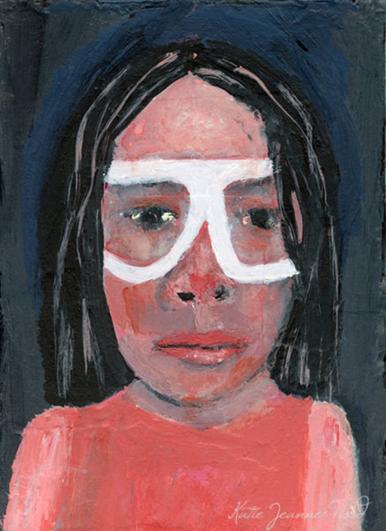 Acrylic Portrait Painting 5x7 Small Painting  Feeling Small image 0