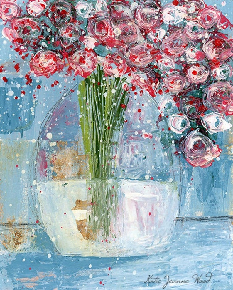 Pink & White Roses Flower Painting Print Valentine's Gift image 0