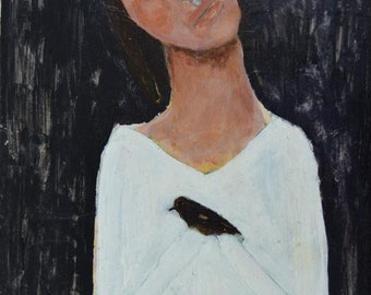Acrylic Portrait Painting. Original Art. Girl & Bird Painting. Dark Sadness Expressive Art. Home Wall Painting.
