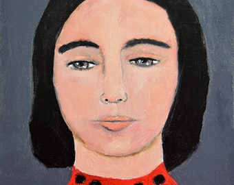Oil Portrait Painting Original. Portrait Wall Art Decor. Small Painting for Gallery Wall