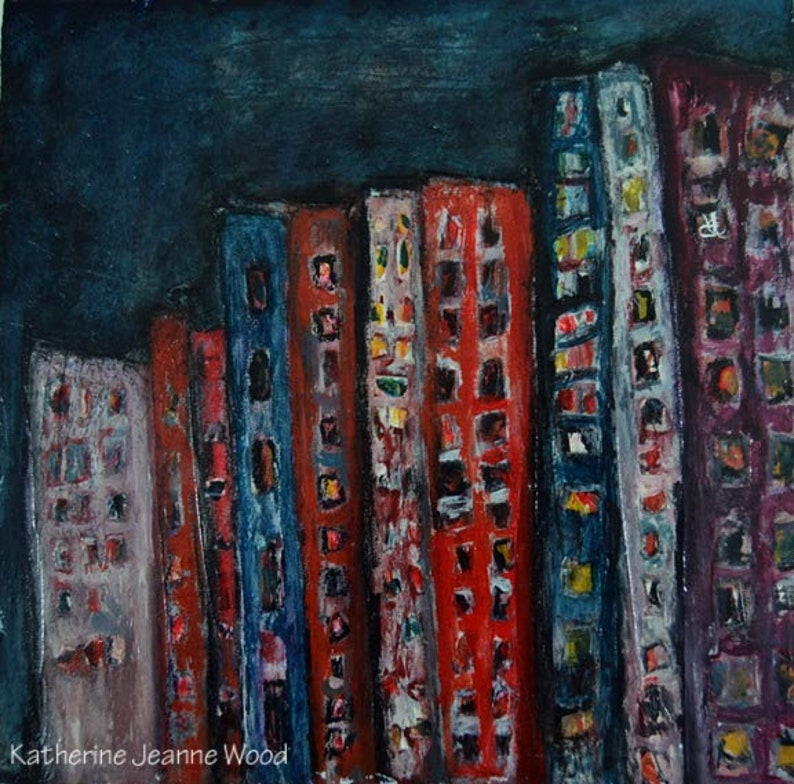 Mixed Media Abstract Acrylic Painting Cityscape image 0