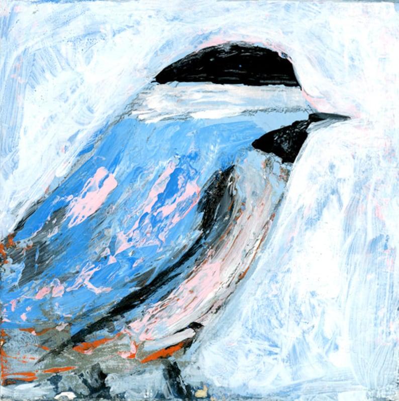 Blue Acrylic Chickadee Bird Animal Painting Bird Watchers image 0