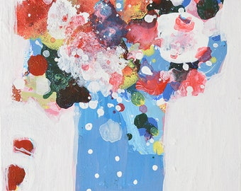 Abstract Floral Art Palette Knife Painting No 312