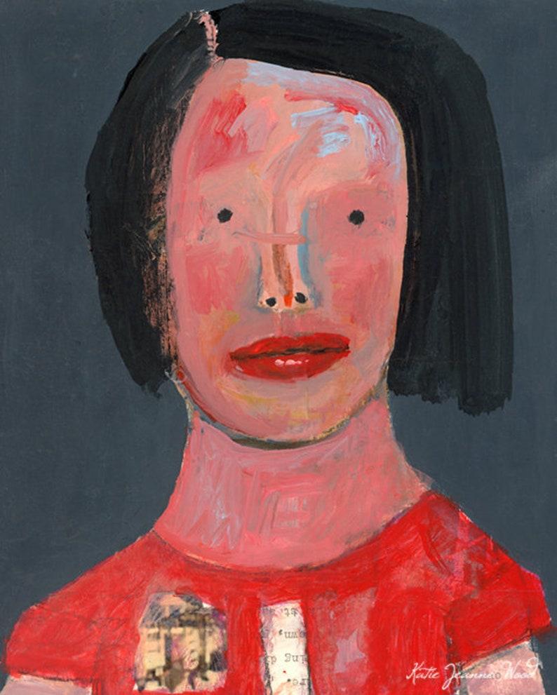 Quietly Observing Woman Beady Eyes Original Acrylic Portrait image 0