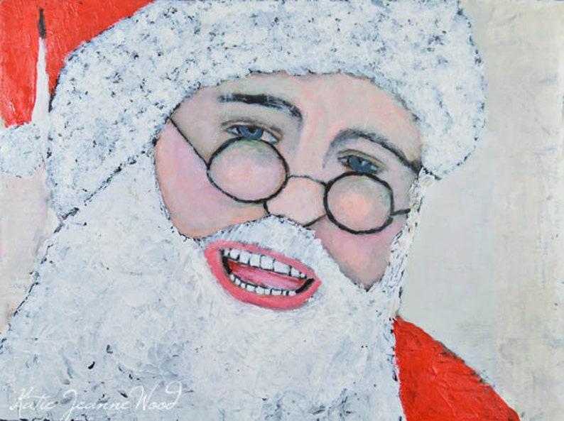 Santa Claus Portrait Painting  Christmas Art Children's image 0