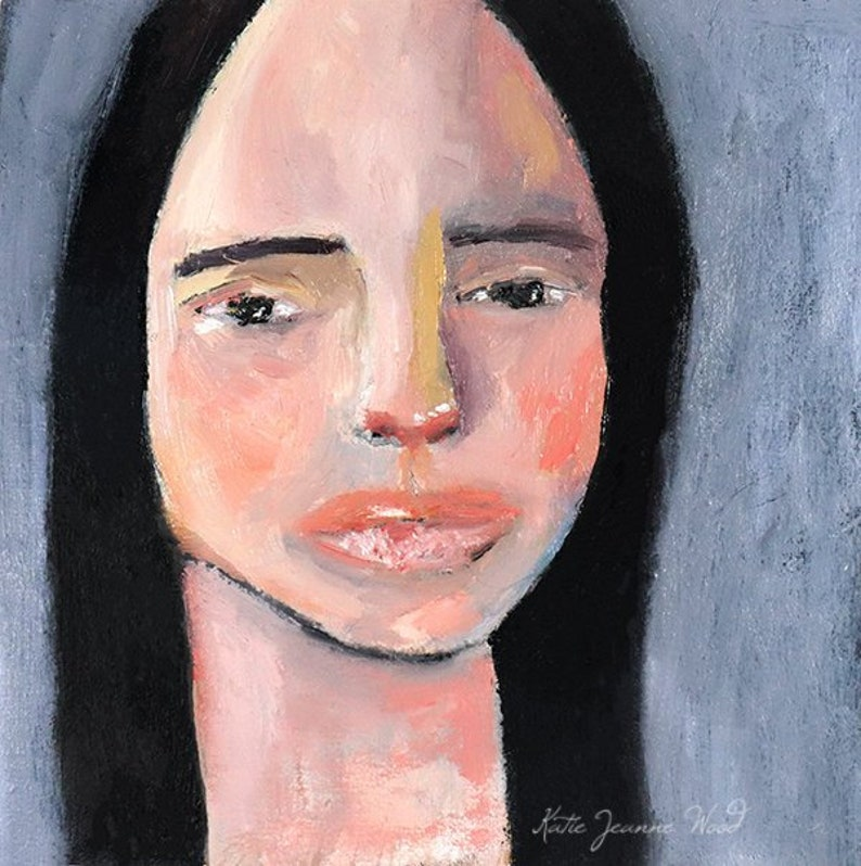 Oil Painting  Small Portrait Painting Dorm Decor image 0