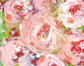 Pink Roses Print, Floral Painting Print, Lovely Housewarming Gift for Her No 348
