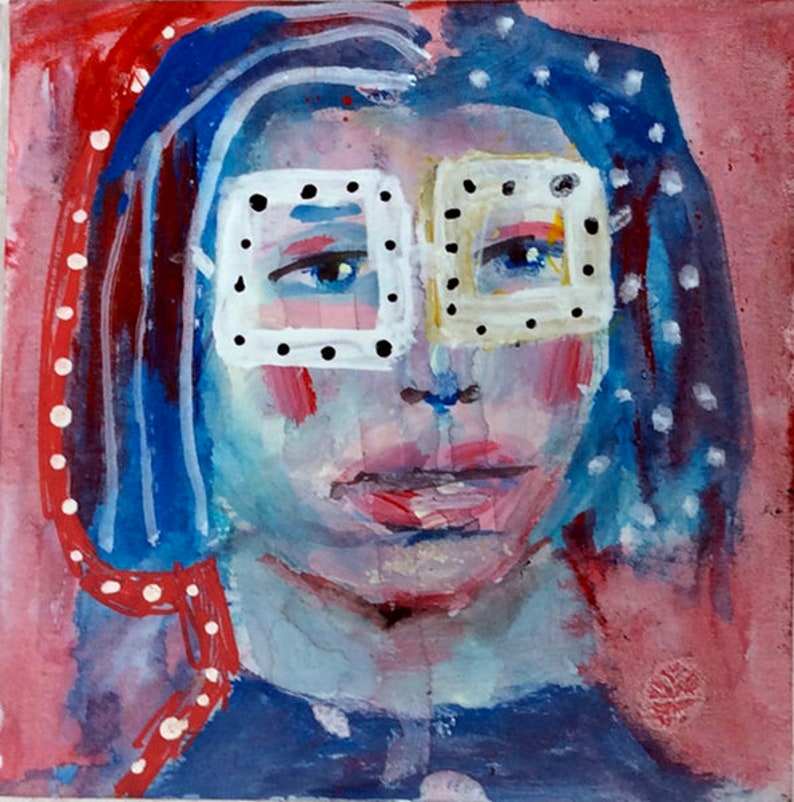 Funky Whimsical Portrait Painting Unframed Print  Stands Out image 0