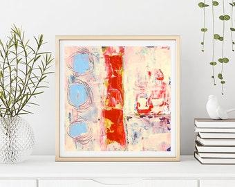 Large Modern Abstract Circles Wall Decor, Living Room Wall Art, Unframed Print