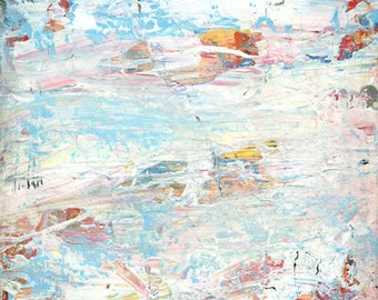 Beach Blue Colors Acrylic Abstract Original Palette Knife Painting - Beneath The Ocean