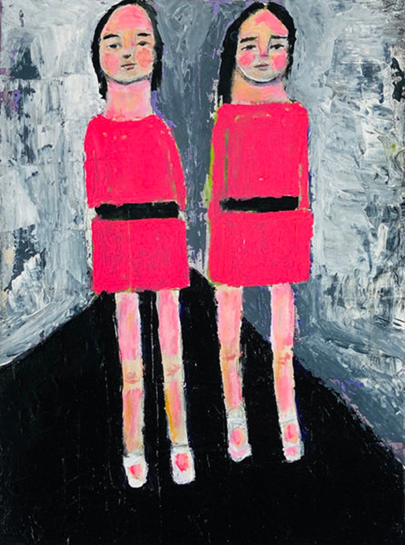 Clearance Sale  Twin Girls Walking to School Painting  Katie image 0