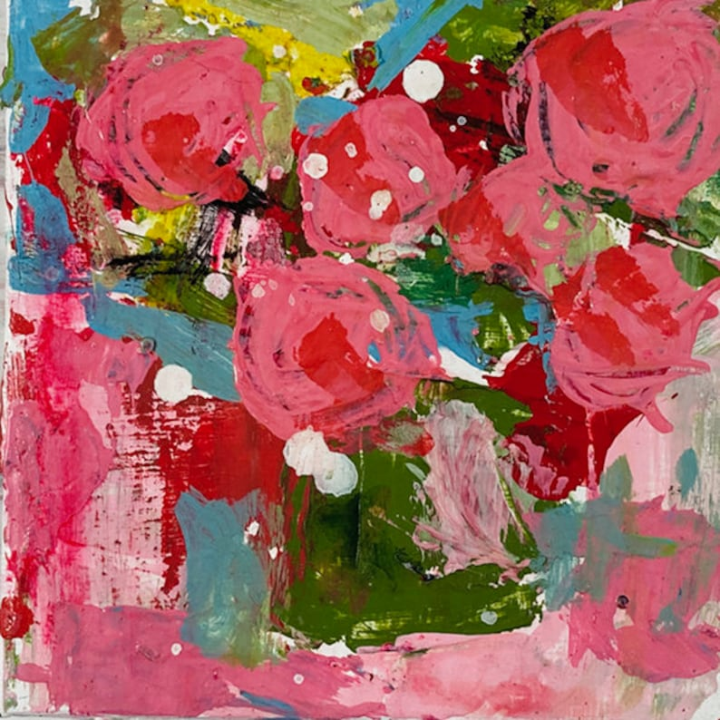 Clearance Sale  Pink Abstract Floral Art  Palette Knife image 0