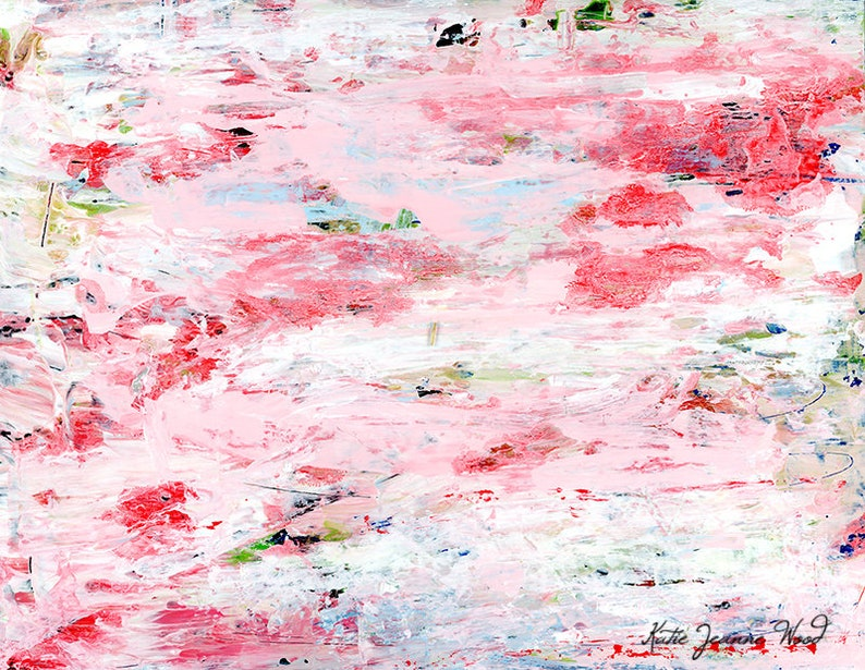 Pink Shabby Cottage Chic Abstract Painting Print Gift Idea For image 0