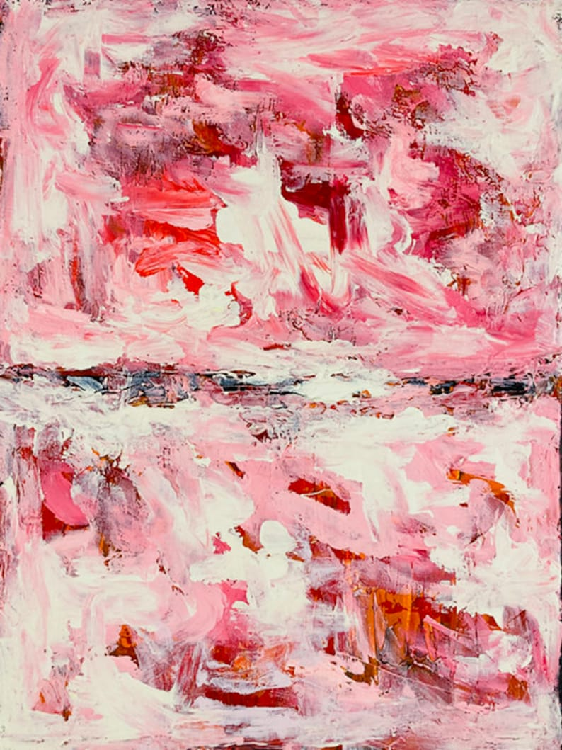 Pink Swirly Abstract Painting Print on Paper image 0