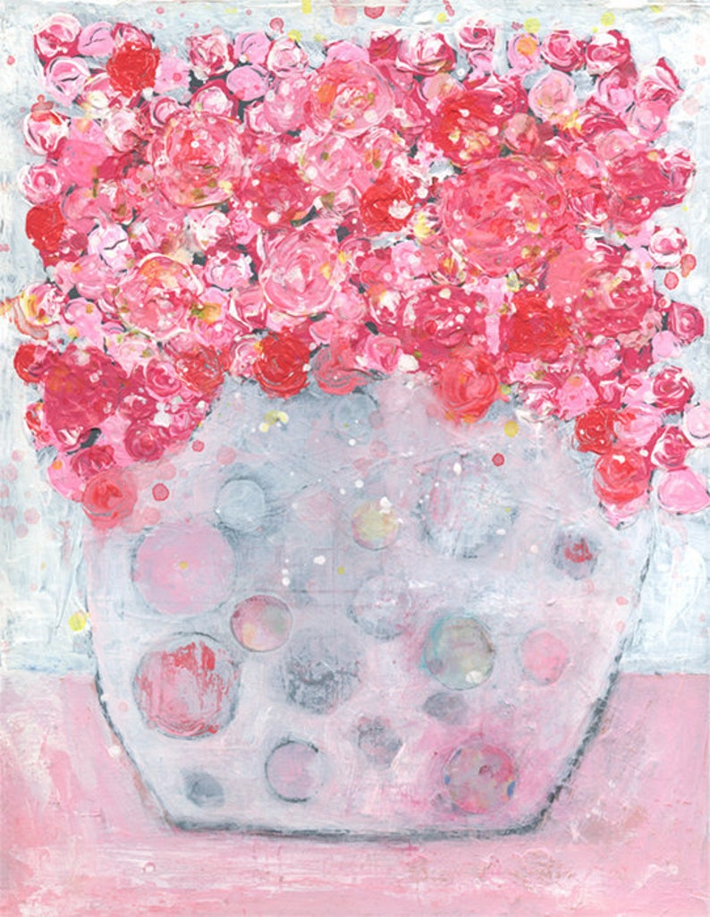 Farmhouse Floral Painting Pink & White Acrylic Flower image 0
