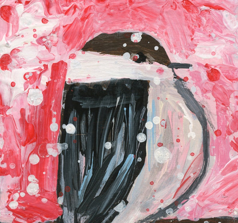 Chubby Chickadee Bird Animal Painting Red Background No 154 image 0