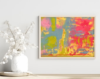 Colorful Rainbow Abstract Unframed Painting Print, Gift for Couple, Dining Room Art, Bedroom Print