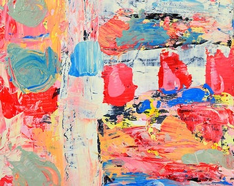 Pink & Blue Affordable Abstract Palette Knife Painting, Pleasant Dream
