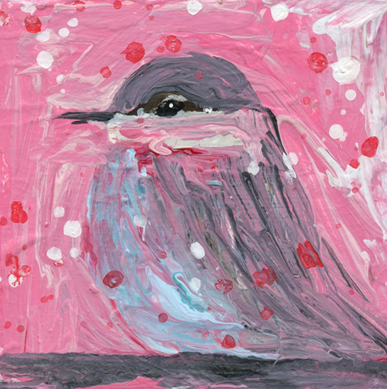 Pink Snowy Winter Painting Chickadee Bird Animal Miniature image 0