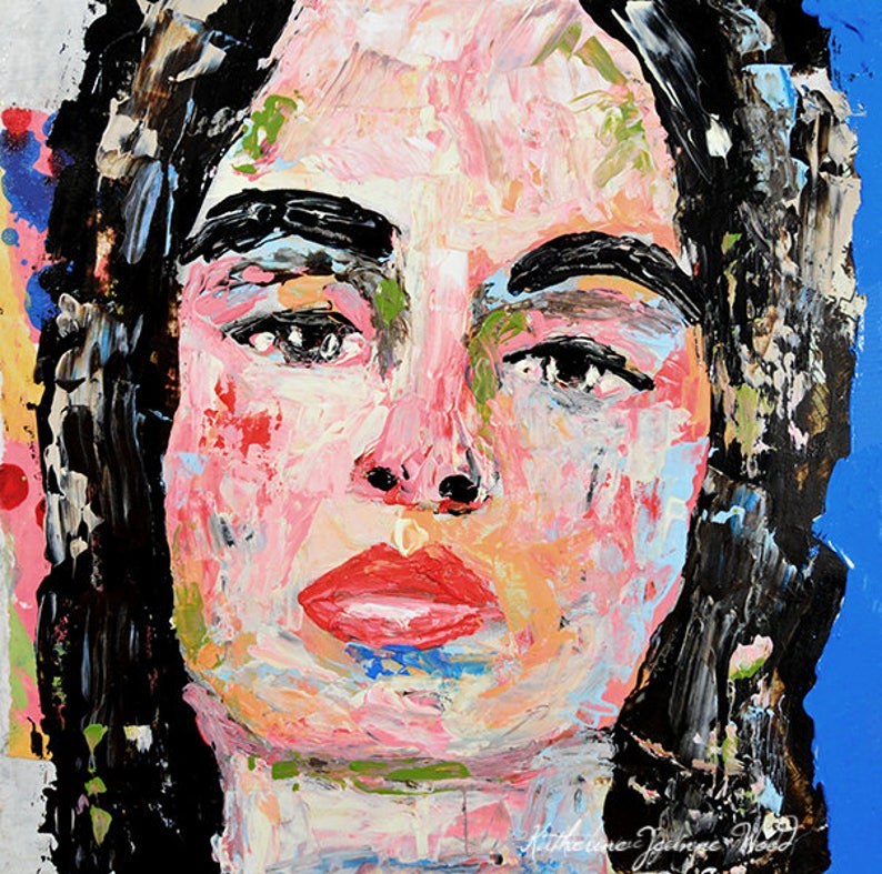 Colorful Palette Knife Portrait Painting  Small Apartment image 0