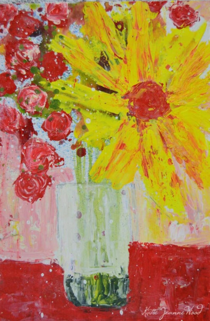 Yellow Daisy Painting Pink Roses Art No 206 image 0