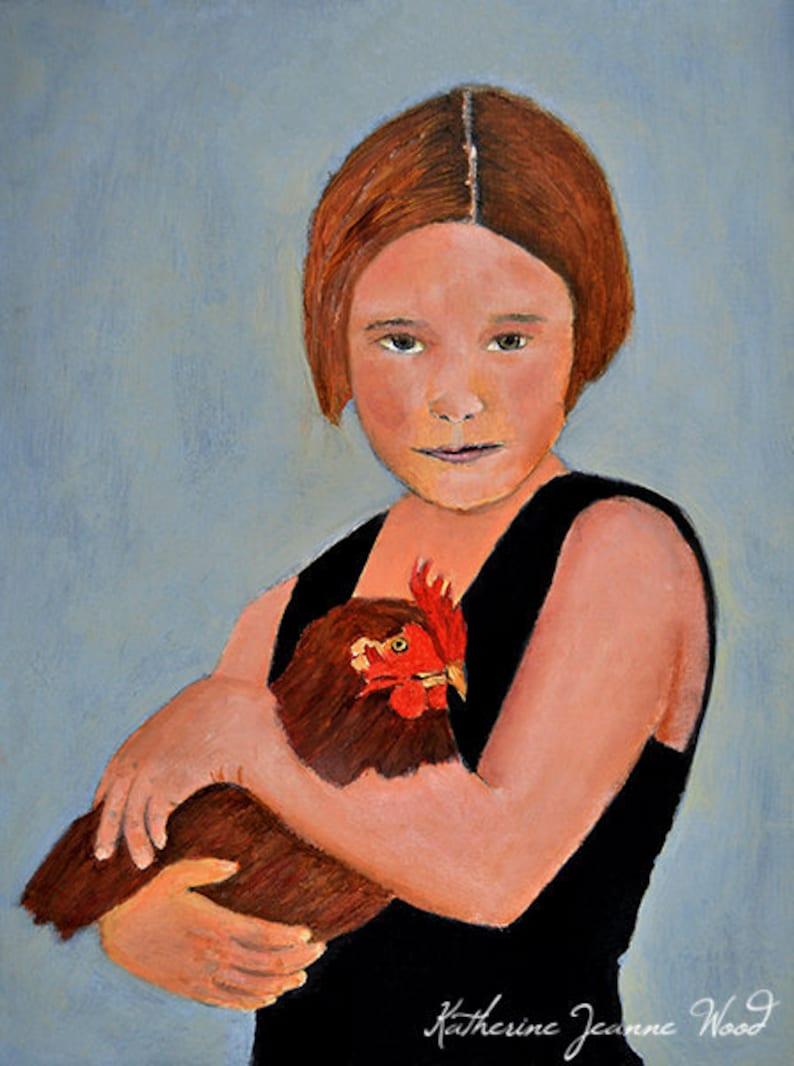 Fine Art Girl & Chicken Animal Painting image 0