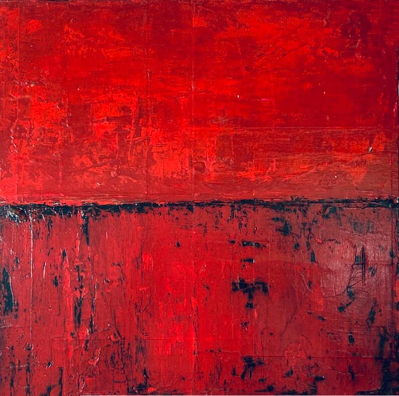 Original Red Acrylic Abstract Painting Handmade Unisex Gift image 0