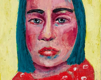 Oil Portrait Painting Original, Yellow & Red Sad Woman