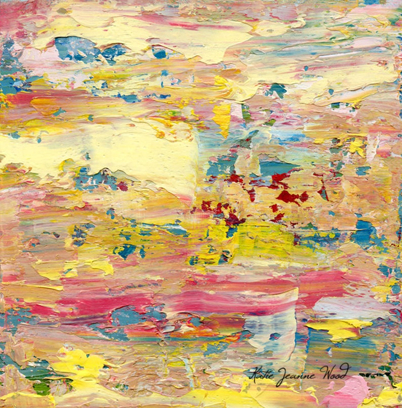 Pastel Abstract Painting Print Blue & Yellow Abstract Wall image 0