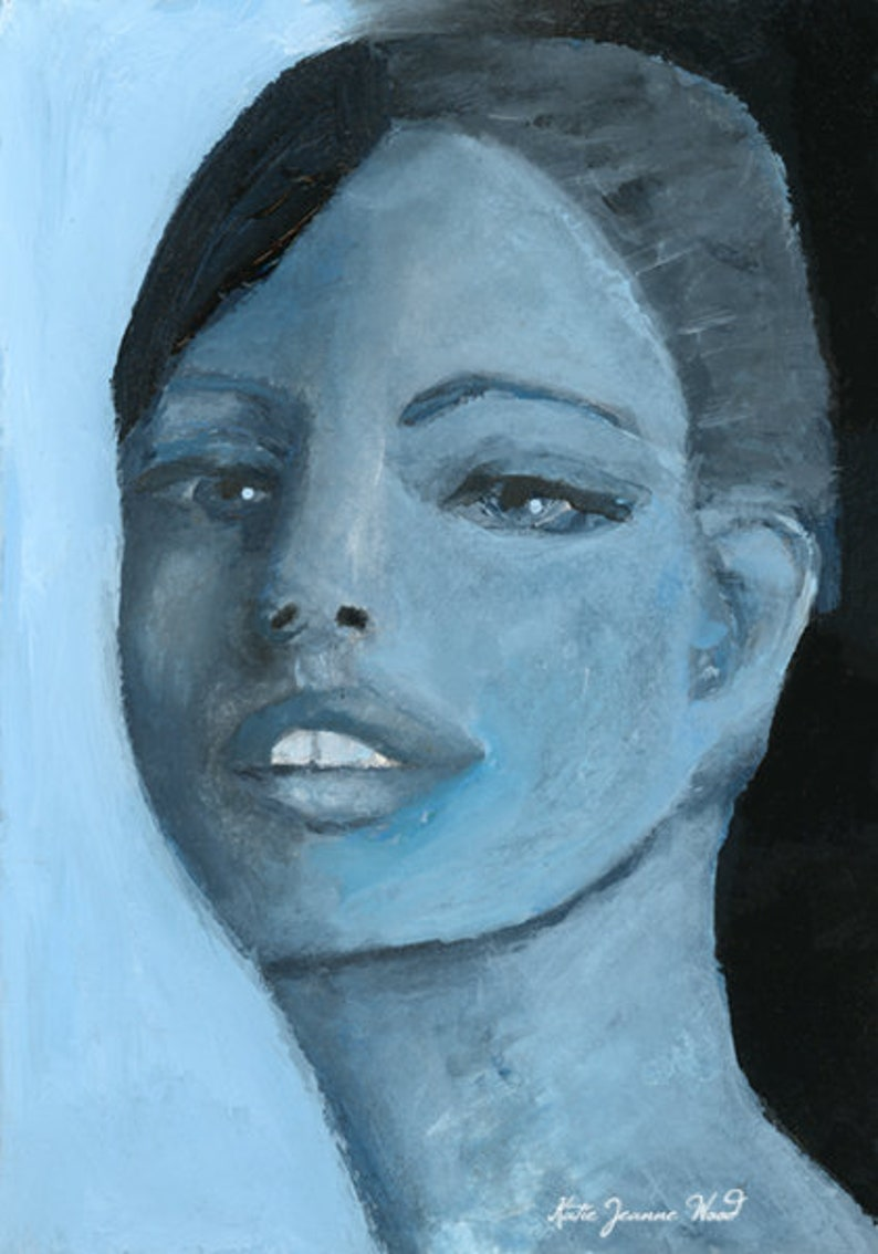Blue Portrait Painting  Blue Tonal Wall Art Print image 0