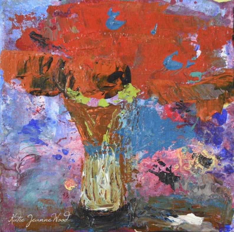 Red Poppy Floral Canvas Art  Palette Knife Painting No 28 image 0