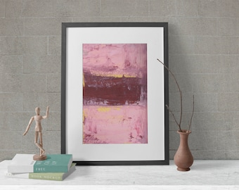 Mauve Pink Abstract Art Living Room Unframed Paper Prints, Canvas Prints - Filled a Void in Life