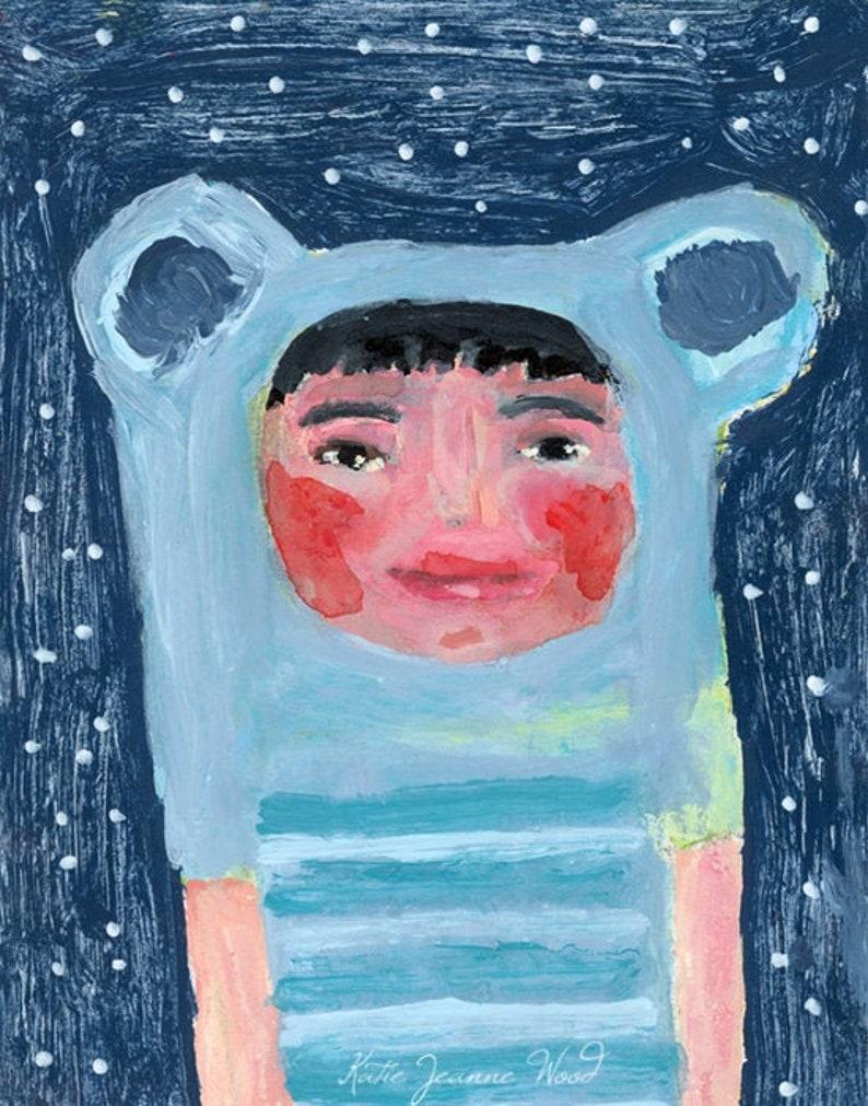 Acrylic Cute Blue Bear Girl Portrait Painting image 0