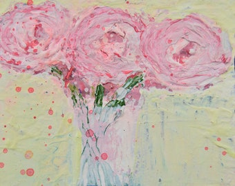 Pale Pink Roses Unframed Flower Print Floral Gift for Her No 104