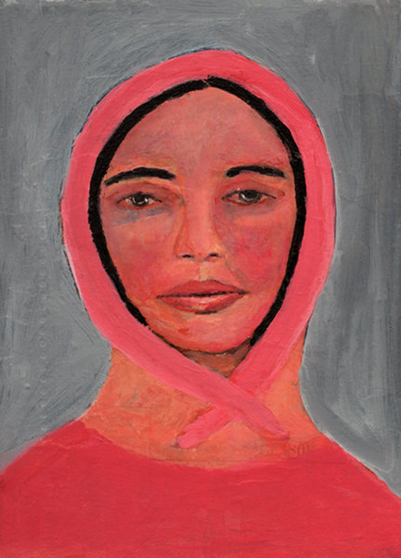 Portrait Painting Woman Wearing Pink Head Scarf  Grace image 0