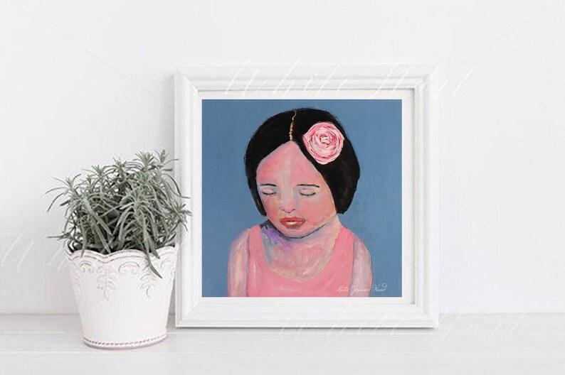 Meditating Girl Wearing Pink Rose Portrait Unframed Painting image 0