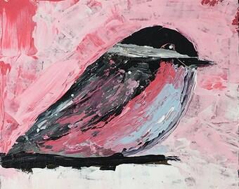 Pink Chickadee Bird Animal Painting No 24
