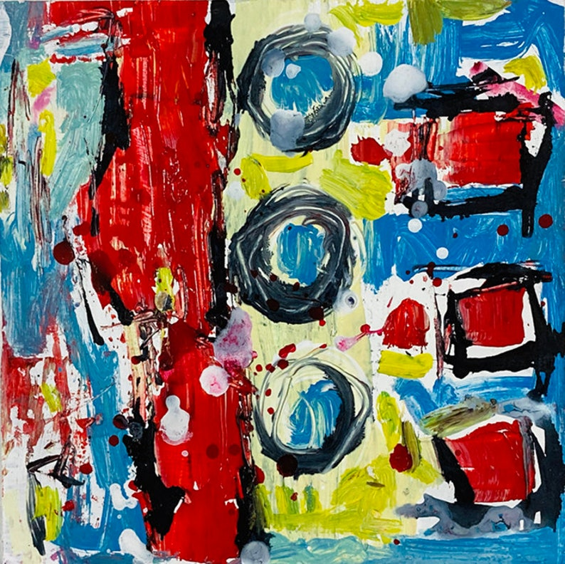 Clearance Sale  Abstract Painting Squares & Circles  Drop By image 0
