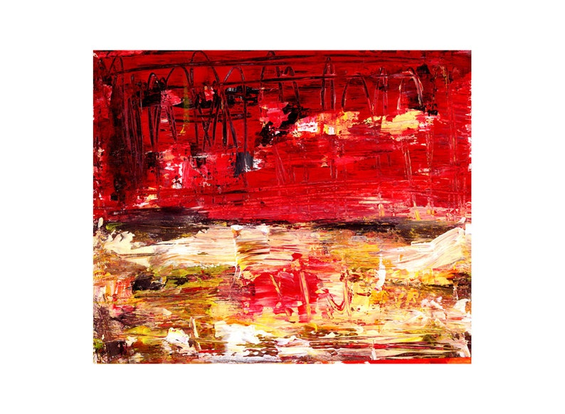 Red Painting  Colorful Abstract Landscape Print image 0