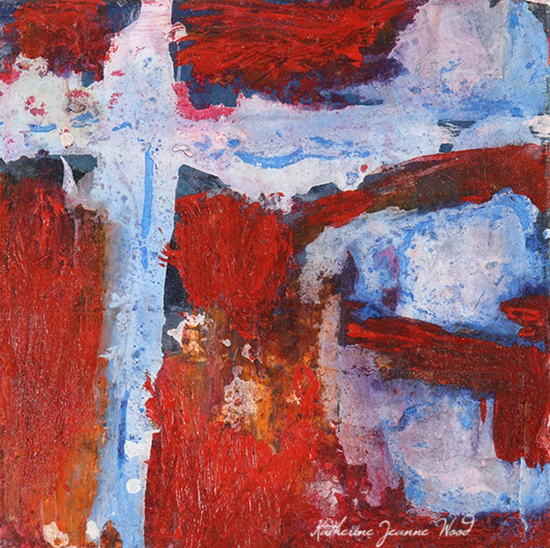Red White & Blue Acrylic Abstract Miniature Painting image 0
