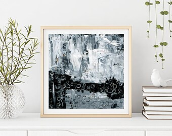Large Black & White Print, Modern Abstract Wall Decor, Living Room Wall Art, Unframed Print