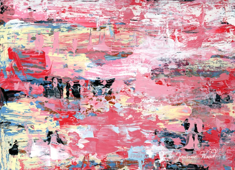 Original Farmhouse Painting  Pink Acrylic Abstract Art No 135 image 0