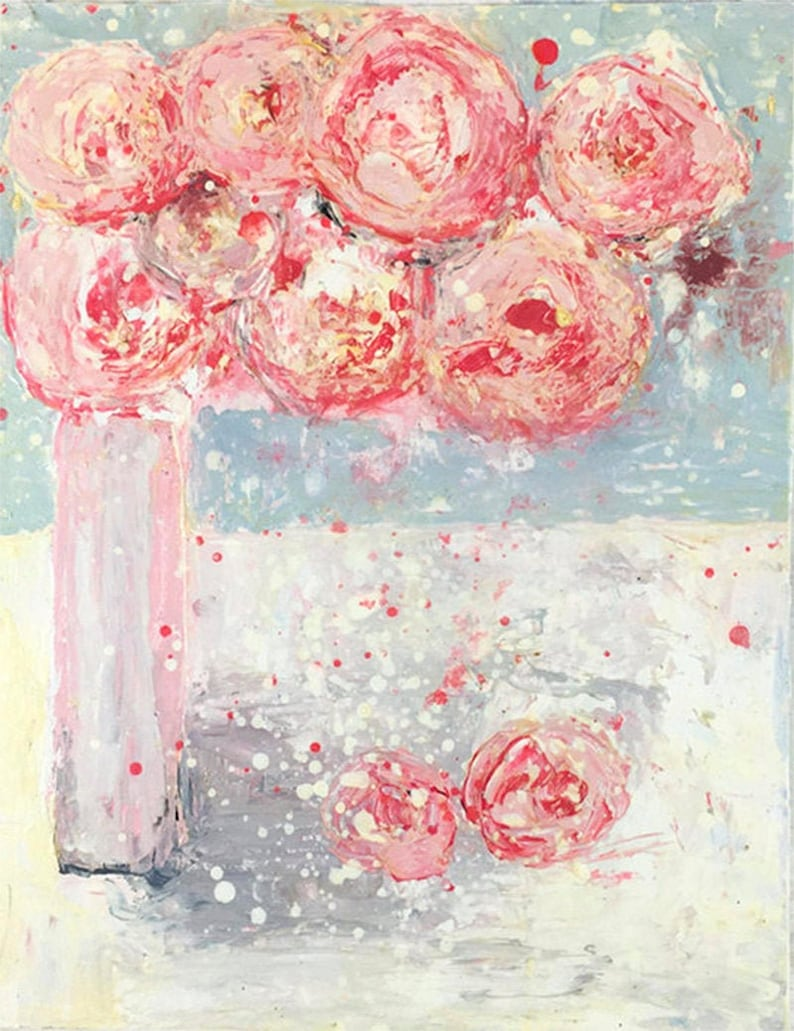 Pale Pink Peonies Farmhouse Floral Painting Modern Floral image 0