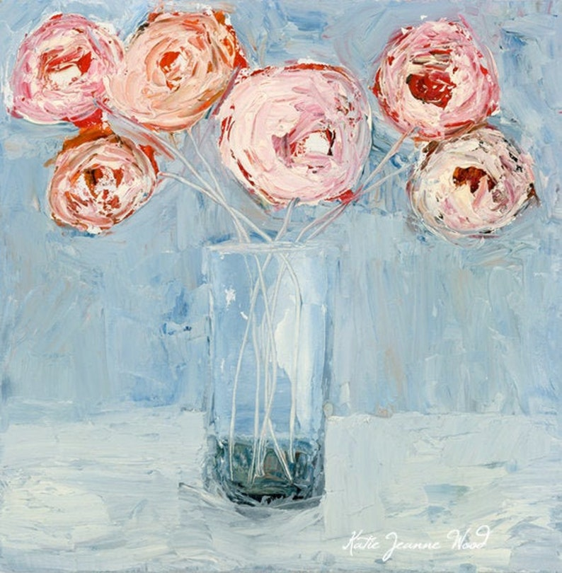 Pink Roses Floral Oil Painting Housewarming Art Gift No 127 image 0