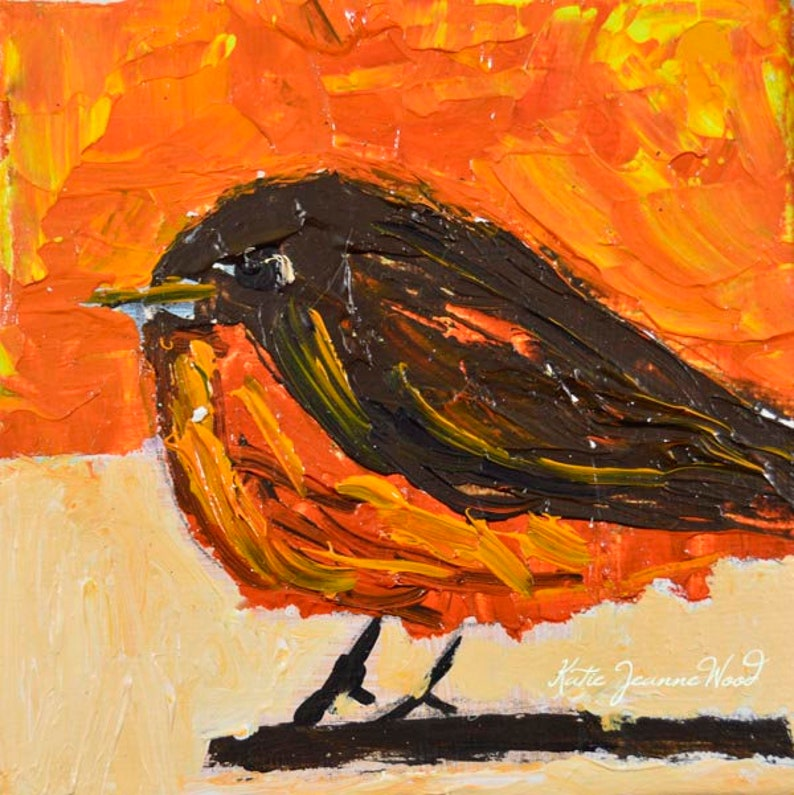 Robin Bird Painting  Spring Wall Art by American Artist Katie image 0